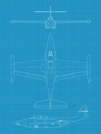interceptor: high detailed vector illustration of old military airplane - top,front and side view