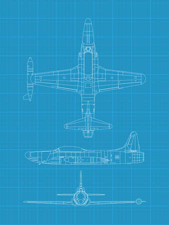 high detailed vector illustration of old military airplane - top,front and side view  Vector