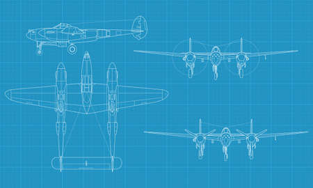 high detailed vector illustration of old military airplane - top,front and side view