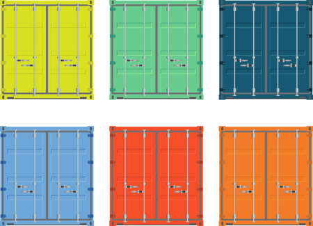 embarque: ilustraci�n carga en contenedores aislados en blanco Vectores