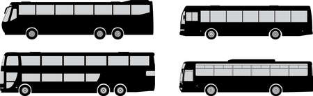 set of bus silhouettes