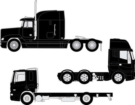 trucking: detailed trucks silhouettes set