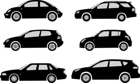 motor de carro: Coches silueta en un fondo ilustraci�n vectorial blanco Vectores