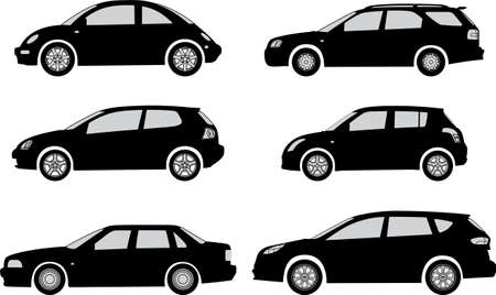 bolid: Silhouette cars on a white background  Vector illustration Illustration