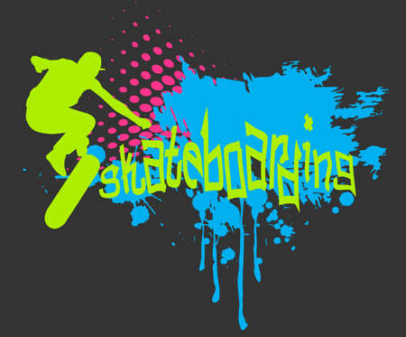 skateboarding: Abstract background with skateboarder silhouette