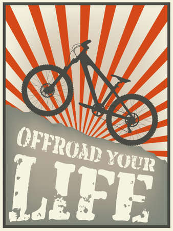 mountain biker: Vintage  illustration of a mountain bike with text offroad your life Illustration