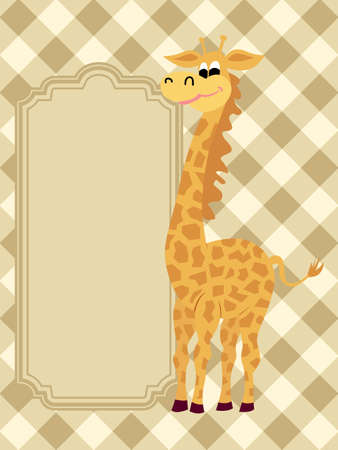 Funny  greeting card with a giraffe Vector