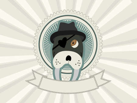 Background with walrus vintage badge Vector