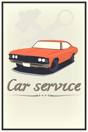 dealership: Vector vintage car service poster