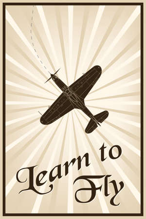 glider: Vector vintage poster with a plane and text learn to fly Illustration