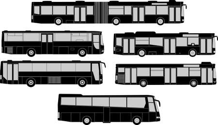 Vector pack of various bus silhouettes Stock Vector - 19119696