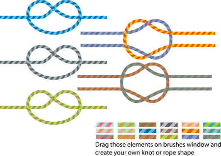 rope knot: Vector pack of various climbing rope pattern