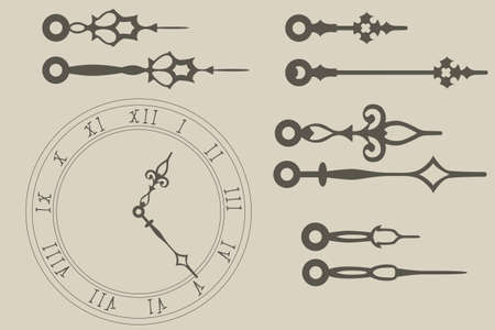 Vector clock hands pack Vector