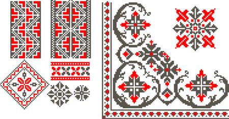bordados: Ilustración vectorial con el patrón tradicional rumano