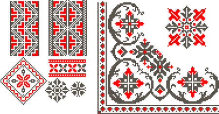 broderie: Vector illustration avec roumain mod�le traditionnel Illustration