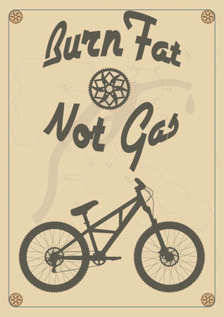 fat concept: Burn fat not gas - vintage bike poster