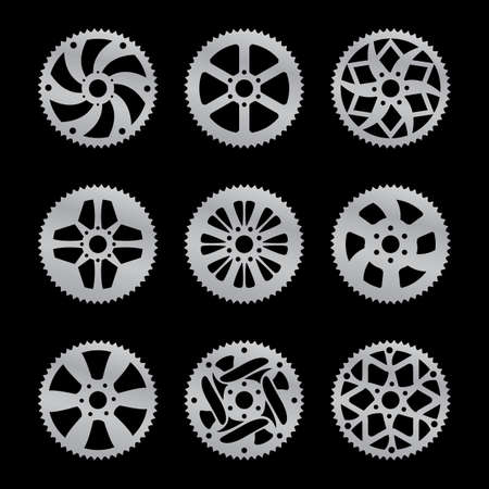 Vector pack of nine bike  rear sprocket Vector