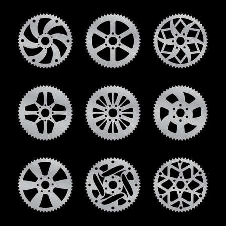 Vektor-Pack von neun Bike Kettenrad Standard-Bild - 19119524