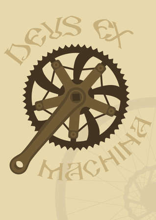 Vintage style poster with a bike chainring and crankarm Vector