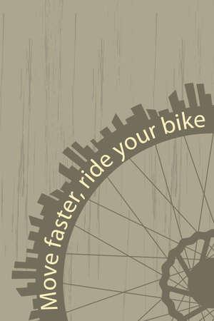 bicicleta retro: Cartel estilo vintage con una rueda de bicicleta y la silueta de la ciudad
