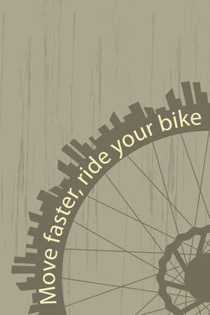 Vintage style poster with a bike wheel and city silhouette