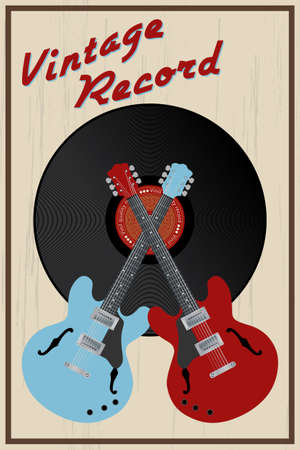 Vector vintage style poster with guitars and vinyl record Vector