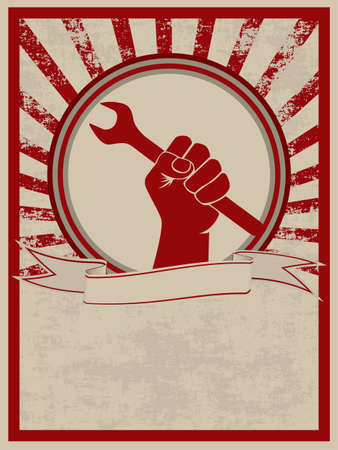 Vintage style poster with a hand holding a wrench Vector