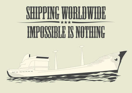 illustration of a ship with text Shipping worldwide - impossible is nothing Illustration