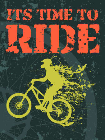 illustration of a biker with ink stains and text it s time to ride Vector