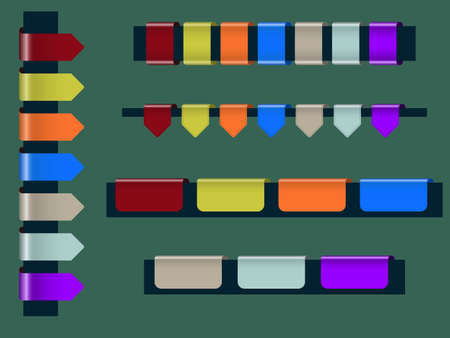 set of colorful webpage badges or tags Vector