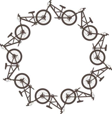 Vector illustratie met fietsen in een cirkel