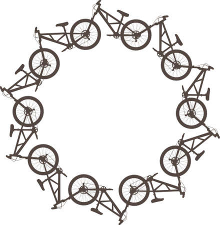 sprocket: Vector illustration with bikes in a circle