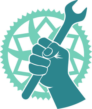 bicicleta vector: Vector moto insignia de reparación con plato y las herramientas de la bici