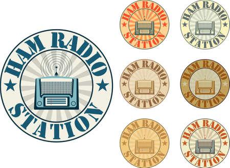 Vintage-Stil Schinken Radiosender Abzeichen Vektorgrafik
