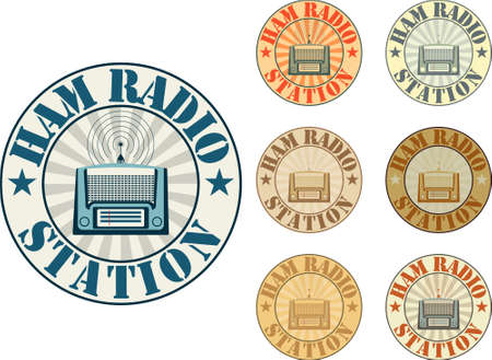 Vintage style ham radio station badges Vector