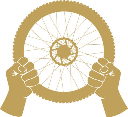 Vector illustration of a bike wheel used as car steering wheel Illustration