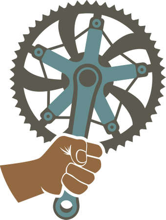 sprocket: We got the power badge illustration with a bike chainring and fist Illustration