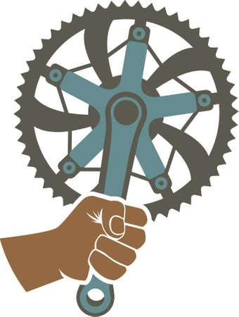 Wir haben die Macht Abzeichen Illustration mit einem Fahrrad Kettenblatt und Faust Standard-Bild - 22188375