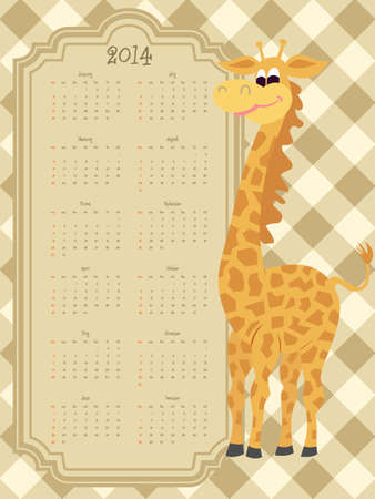 Funny retro style calendar for 2014 with a Giraffe Vector