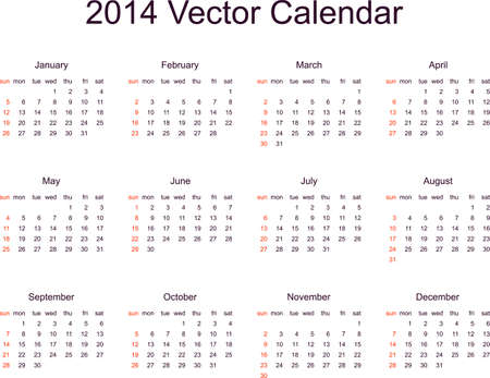 2014 Calendar Template Week Starts Monday Royalty Free Cliparts