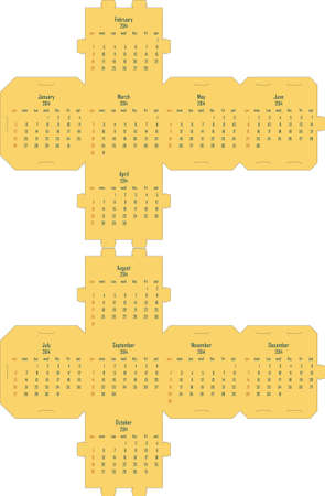 2014 cube calendar template - this package box can be printed on both faces, do not need glue Stock Vector - 22787825