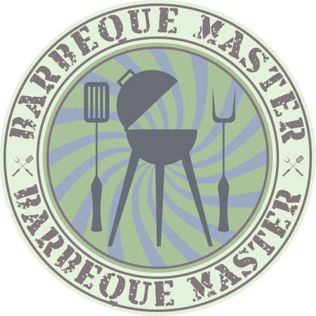 gas barbecue: Vector vintage style barbeque master badge