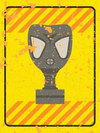 army gas mask: Signo grunge vector con una m�scara de gas y las rayas de advertencia