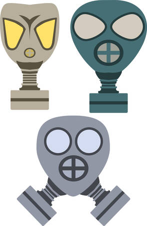 army gas mask: Vector pack de tres m�scaras de gas