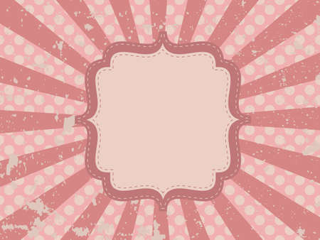 Grunge vintage background with rays and frame Vector