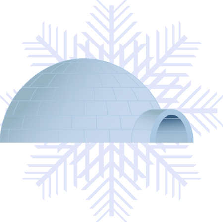 Vector illustration of a igloo and a snowflake on background Stock Vector - 22787862
