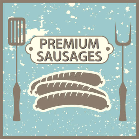 Vintage style poster with sausages Vector