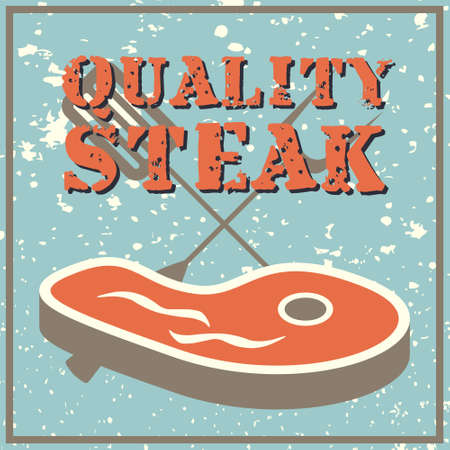 Vintage style poster with a steak Vector