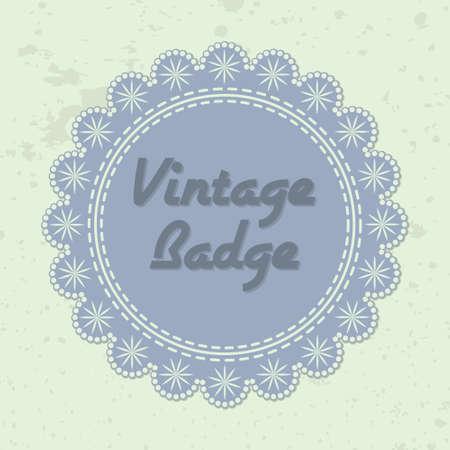 cenefas decorativas: Insignia vector de estilo vintage con bordes decorativos