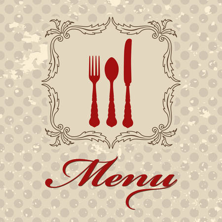 Vintage menu template with cutlery and polka dots on background Vector